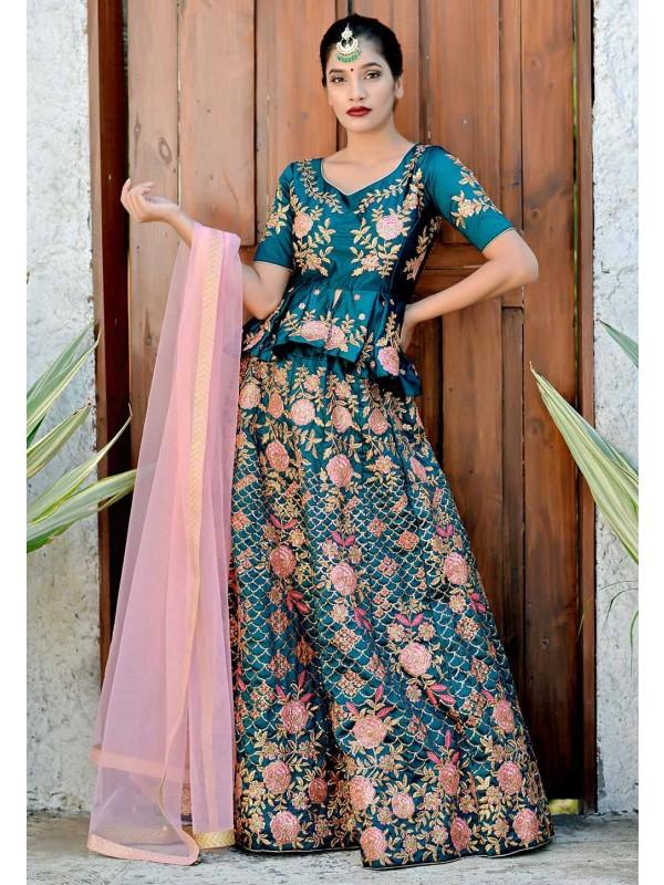 Teal Blue Colour Designer Lehenga Choli.