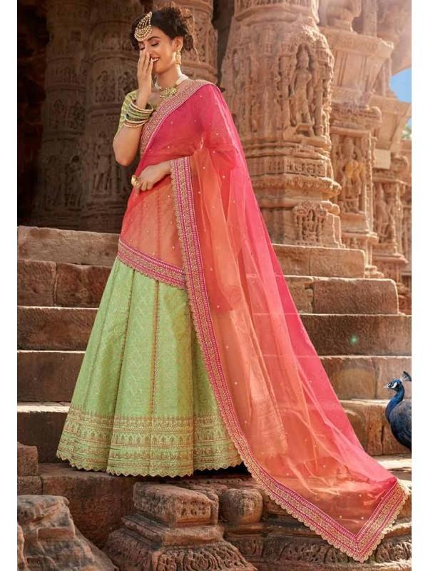 Pista Green Colour Wedding Lehenga.