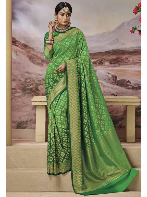 Green Colour Silk Indian Saree.