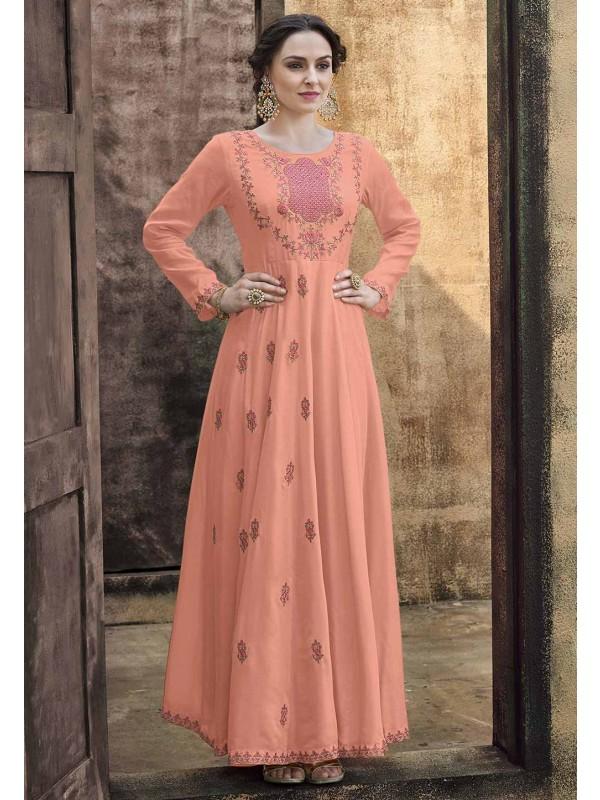 Peach Colour Silk Designer Gown.