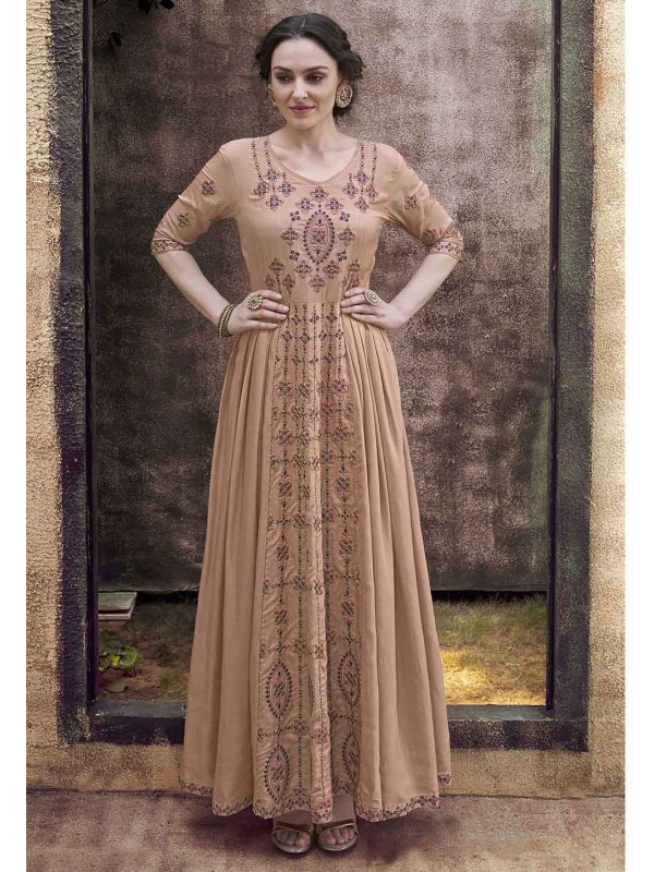Light Brown Colour Silk Readymade Gown.