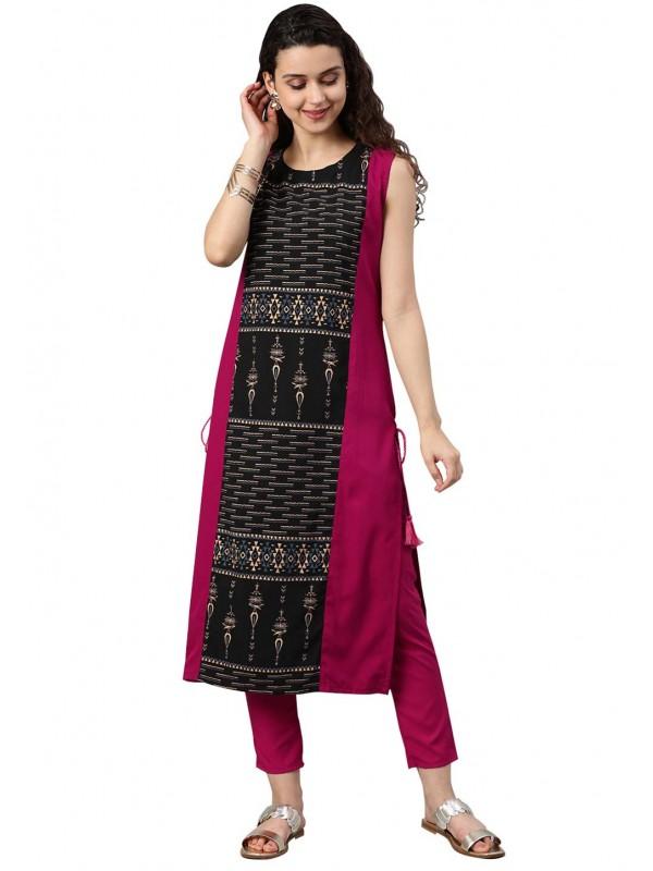 Pink,Black Colour Readymade Kurti.
