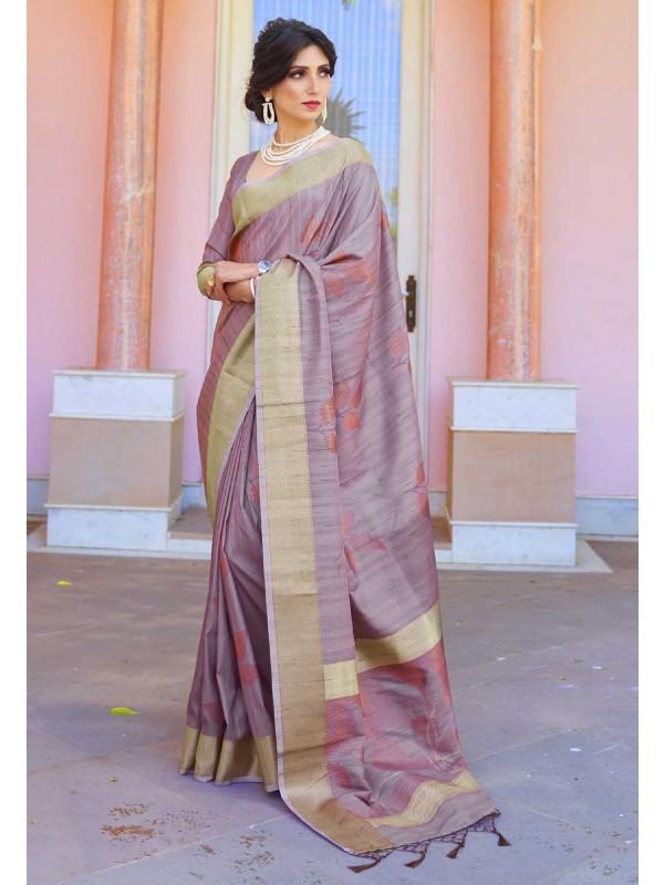 Light Purple Colour Handloom Saree.