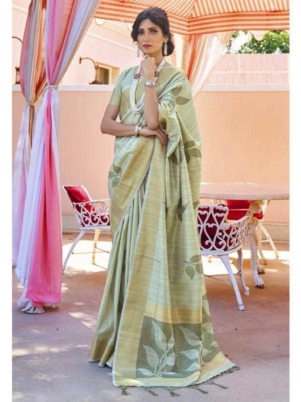 Sea Green Colour Indian Designer Sari.