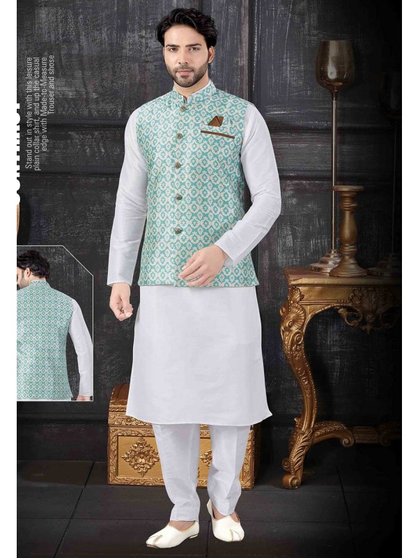 Off White,Green Colour Kurta Pajama Jacket.