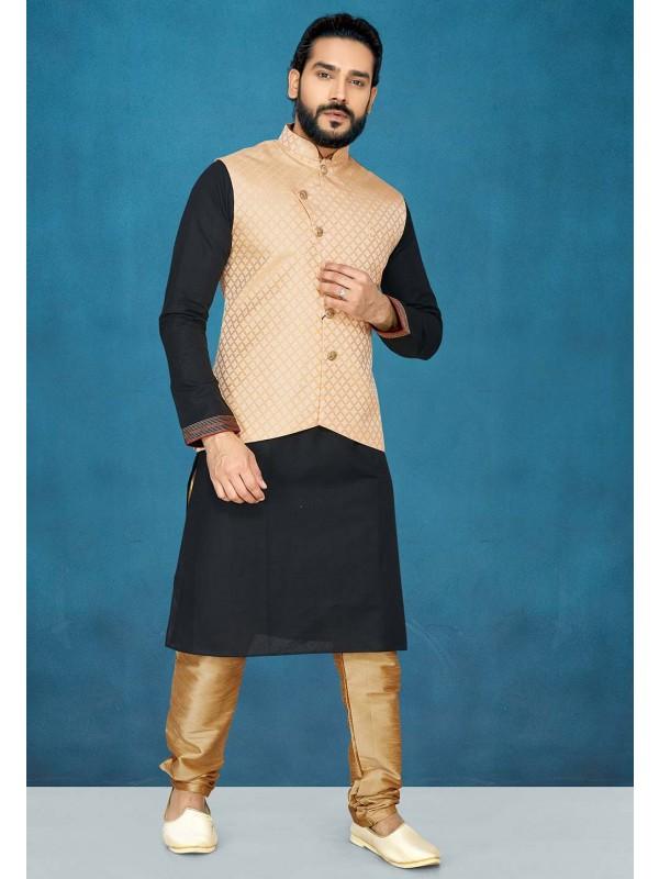 Designer Kurta Pajama in Black,Peach Colour.