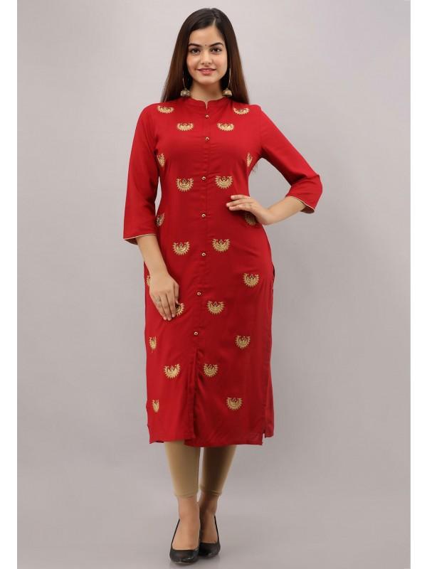 Embroidery Work Red Colour Designer Kurti.