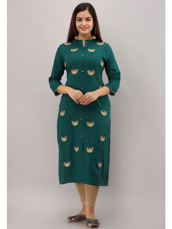 Indian Designer Kurti Green Colour.