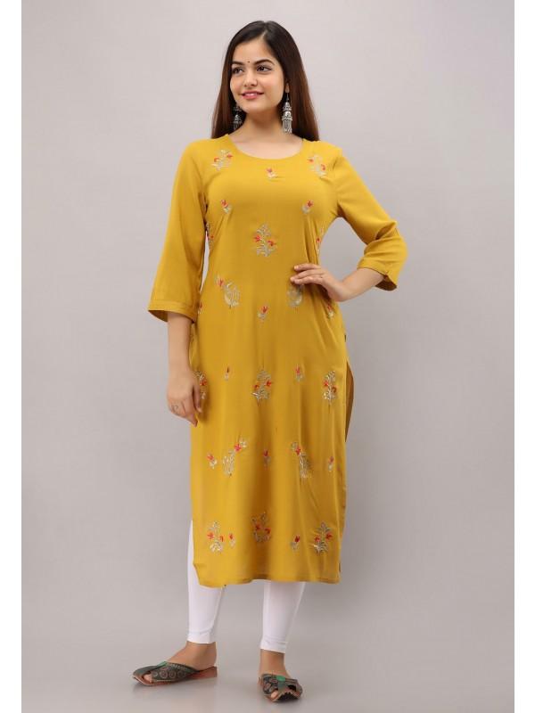Designer Womens Kurti Yellow Colour.