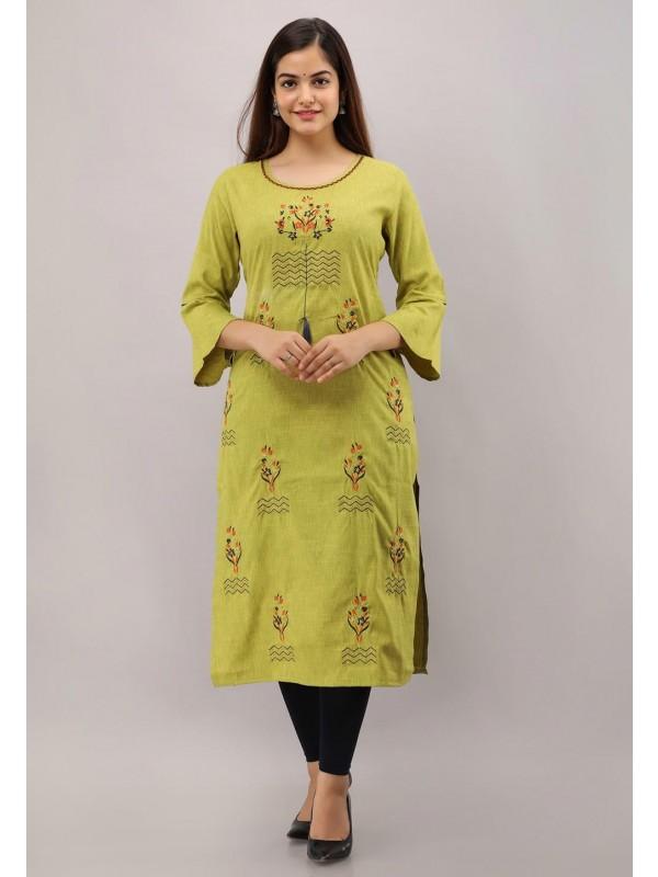 Rayon Cotton Fabric Green Colour Readymade Kurti.