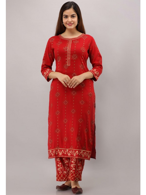 Red Colour Designer Readymade Kurti.