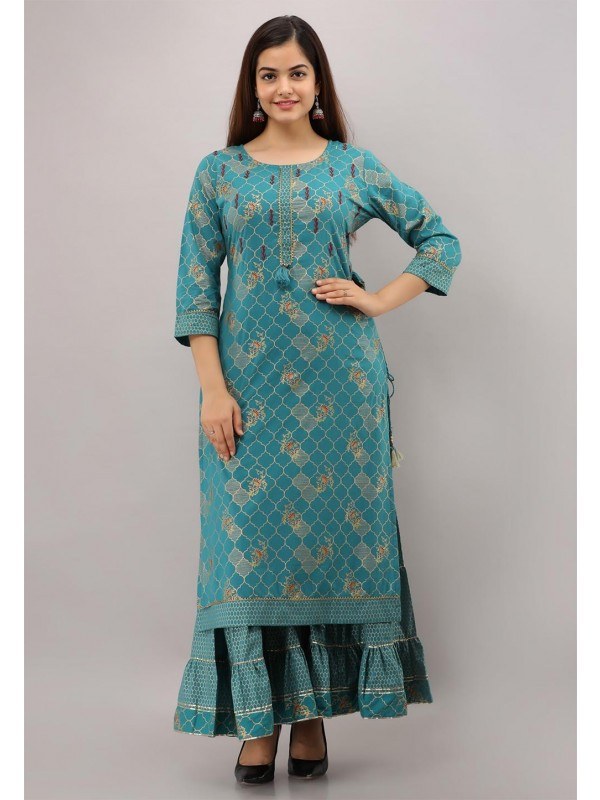 Green Colour Sharara Readymade Kurti.