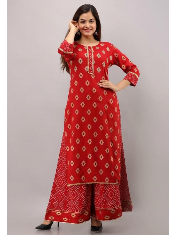 Red Colour Sharara Readymade Kurti.