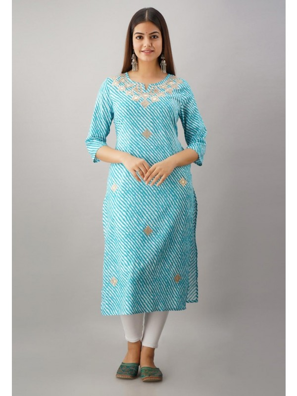 Rayon Fabric Gota Patti Work Kurti.
