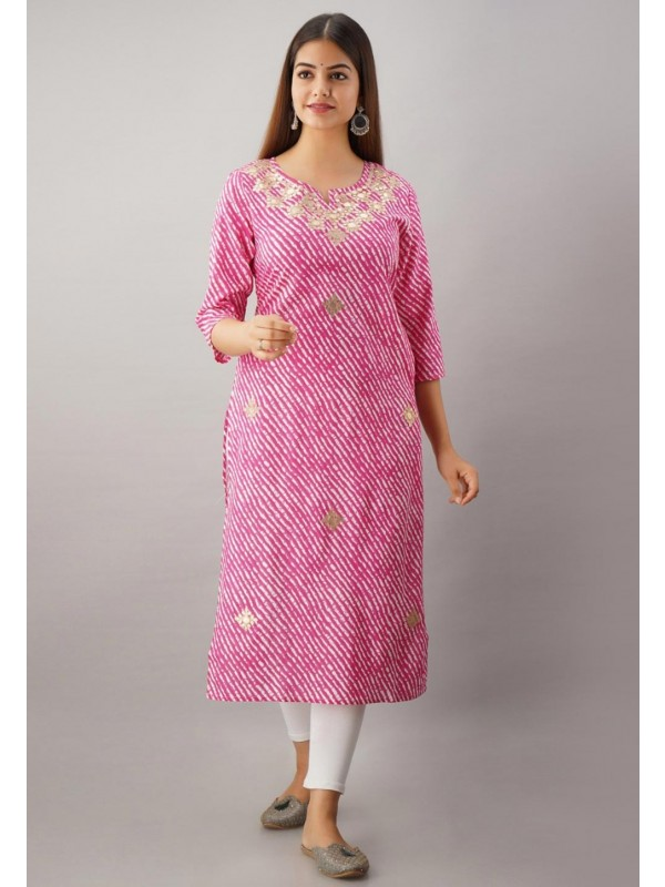 Pink Colour Gota Patti Work Lehariya Kurti.