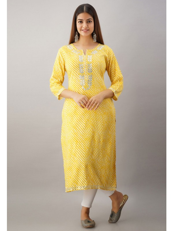 Rayon Fabric Gota Patti Work Readymade Kurti.