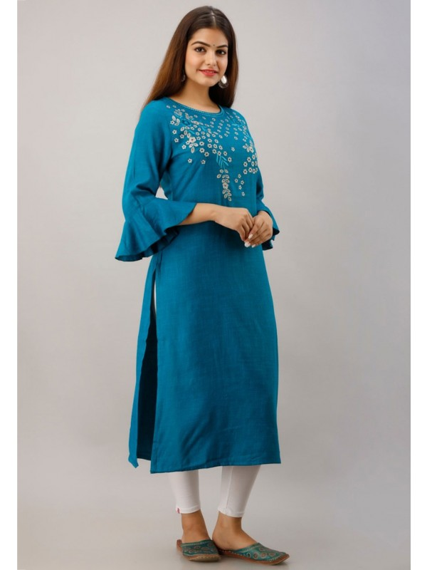 Teal Blue Colour Casual Kurti.