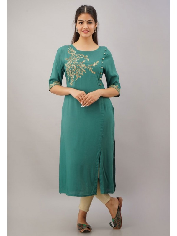 Rayon Fabric Green Colour Womens Kurti.