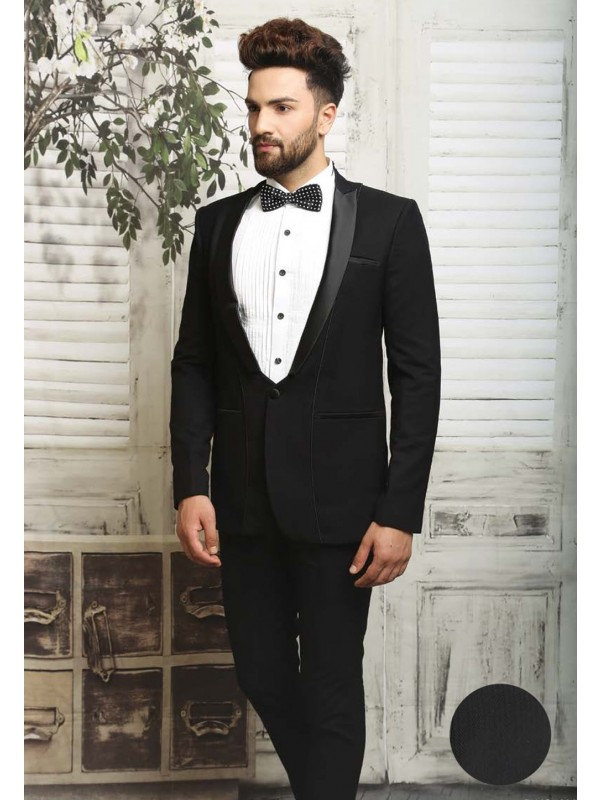 Black color italian fabric Tuxedo suit online