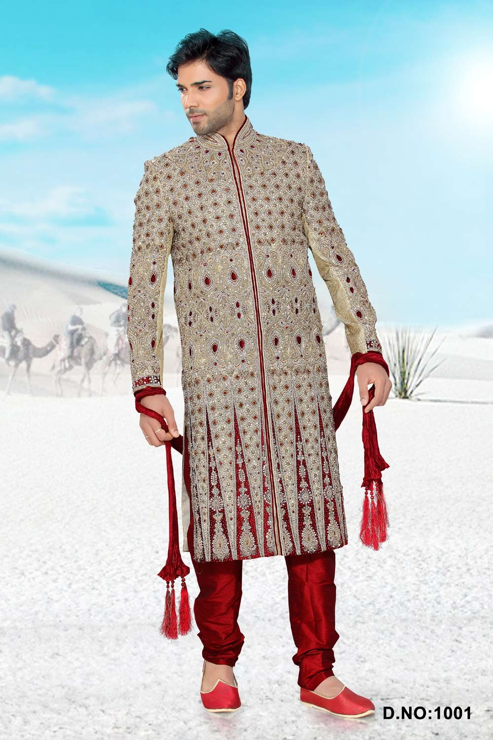 Buy Golden Men Designer Sherwani