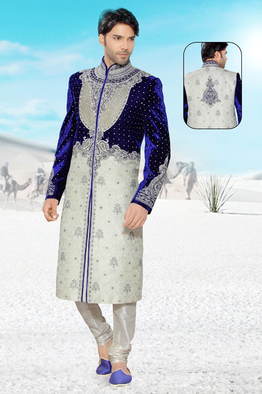 Buy Cream & Blue mens sherwani online