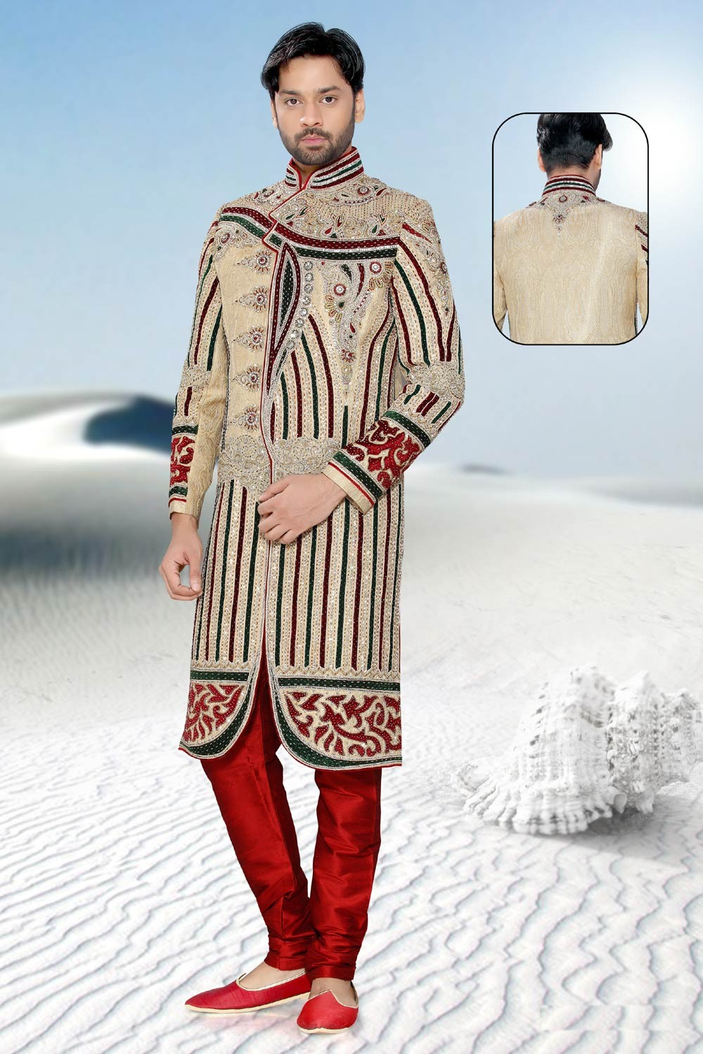 Buy Golden & Maroon Indian mens sherwani