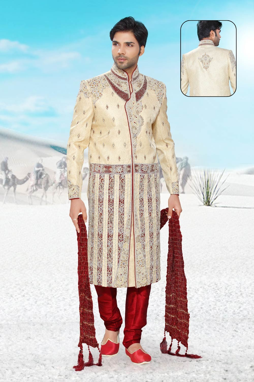 Buy cream colour designer sherwani
