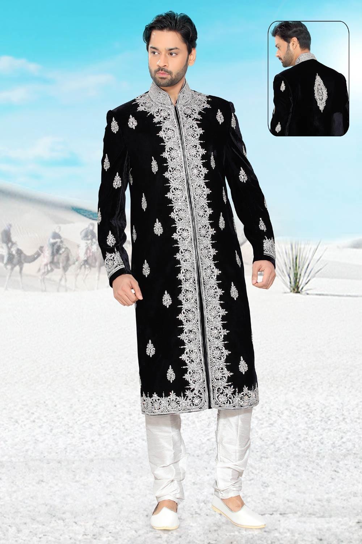 Buy mens black velvet sherwani online