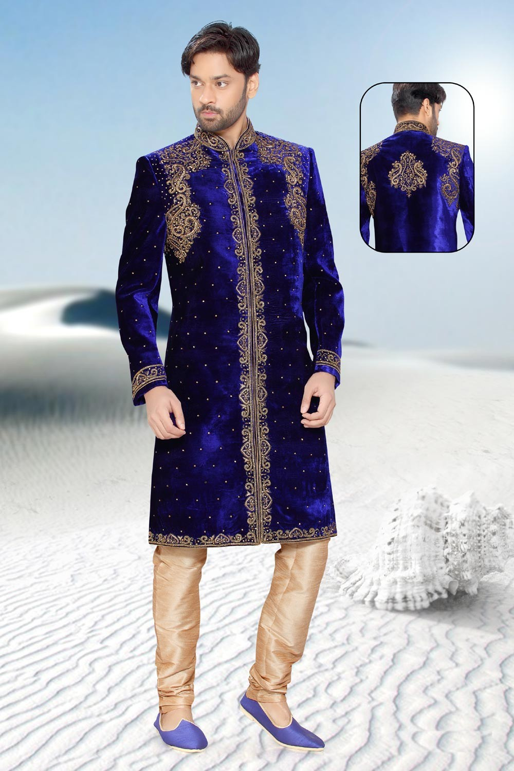 Blue velvet Indian mens sherwani