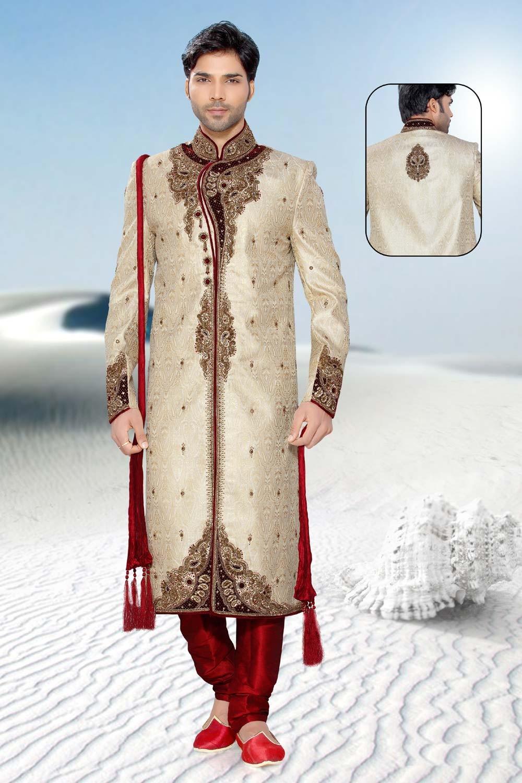Buy golden & beige sherwani online