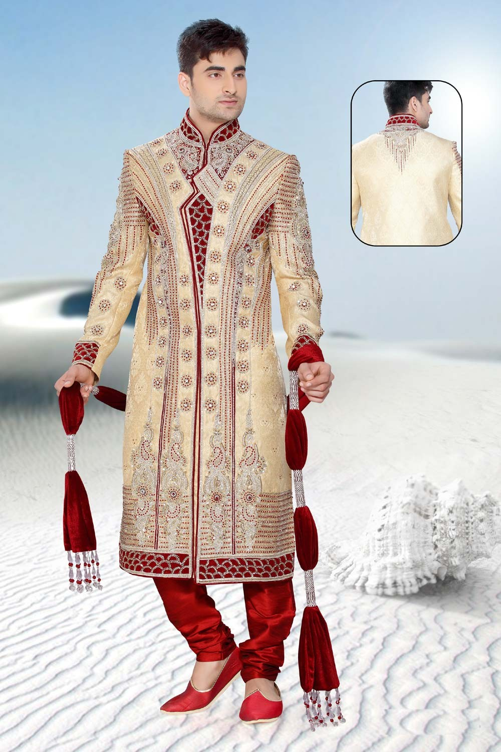 Buy cream & maroon mens sherwani online