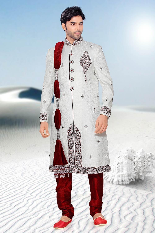 Buy off white Indian mens sherwani