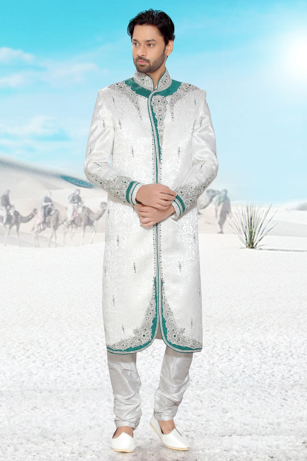 Buy striking white mens sherwani online