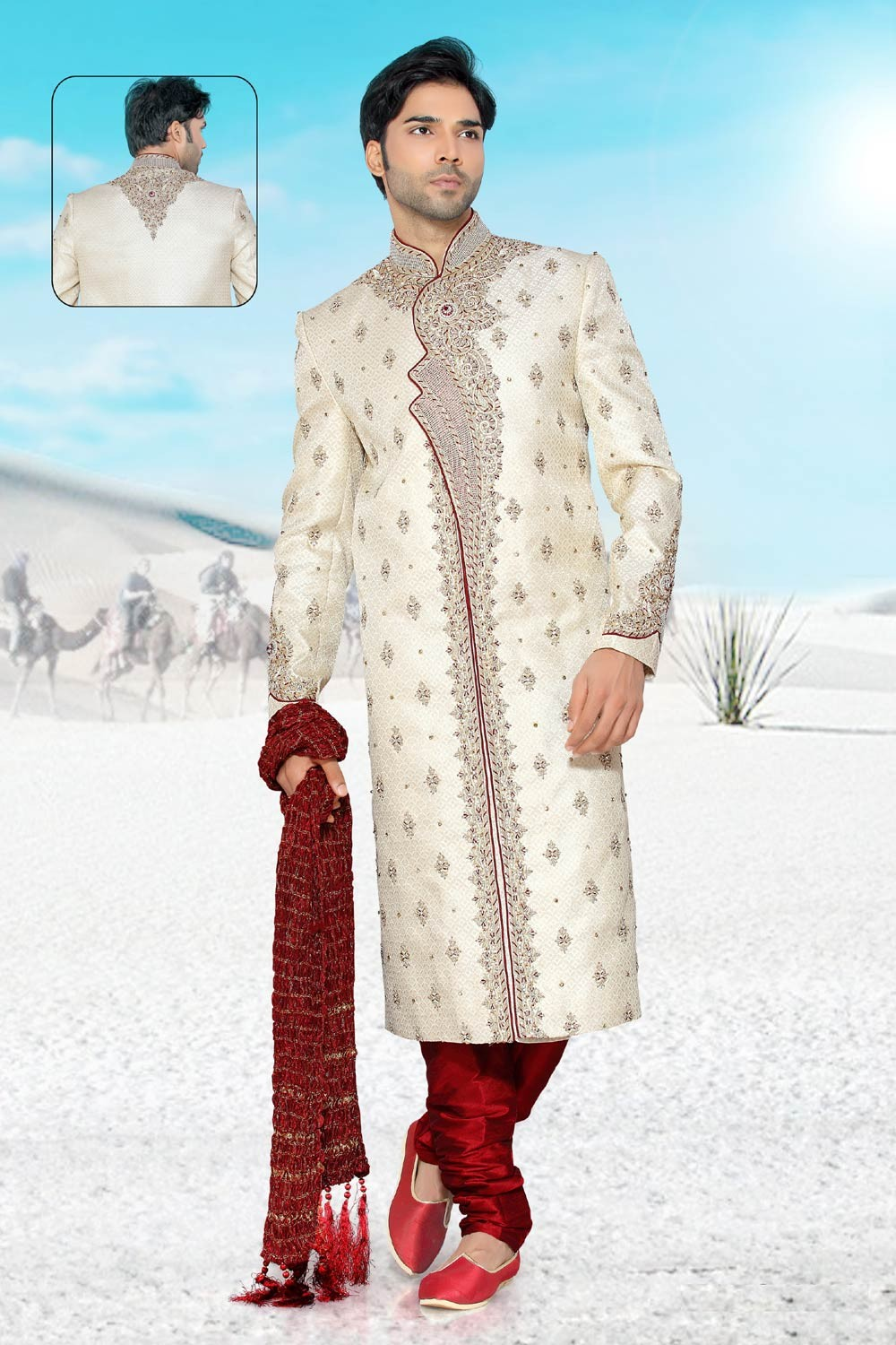 Buy Cream Brocade Sherwani for men