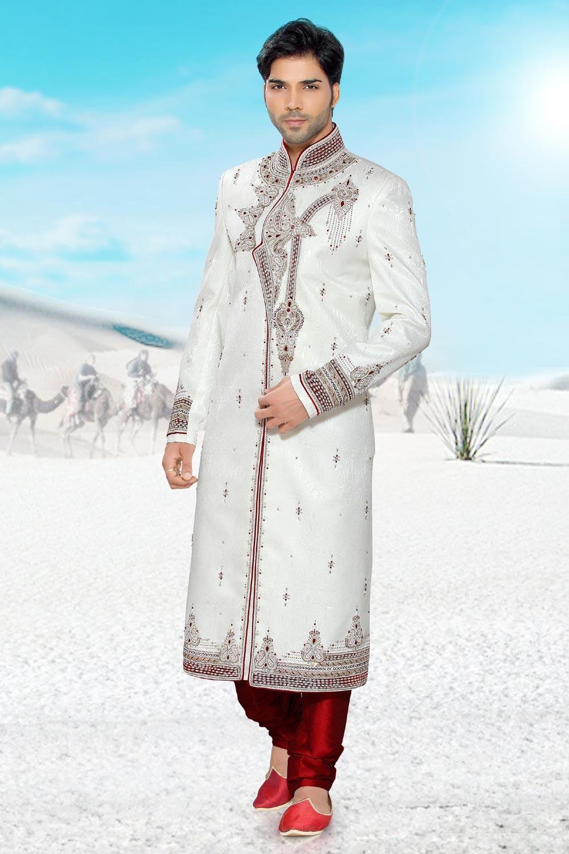 Buy brocade off white Sherwani for men