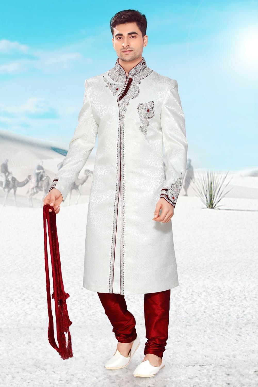 Buy white brocade Indian mens sherwani