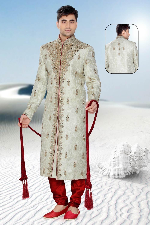 Buy Indian mens sherwani cream colour