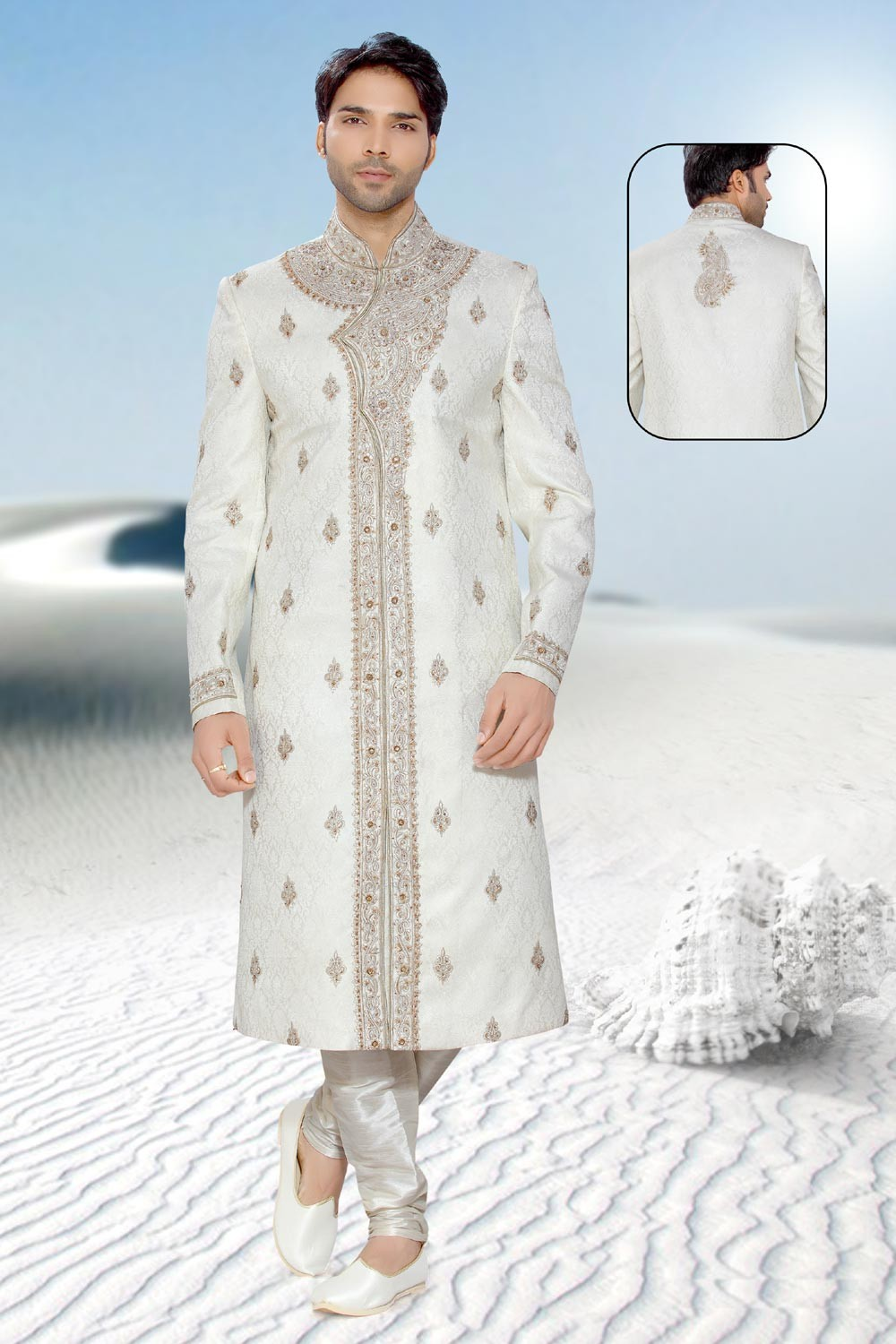 Off White Brocade Men's Sherwani