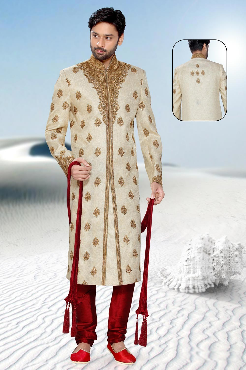 Golden Jamawar Men's Sherwani