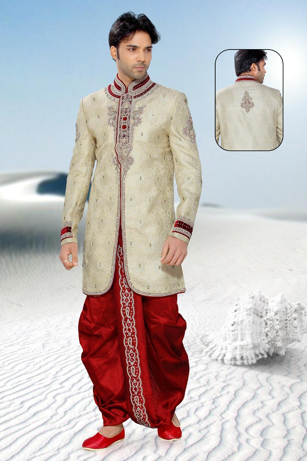 Indian Mens Enigmatic Golden & Beige Color Sherwani