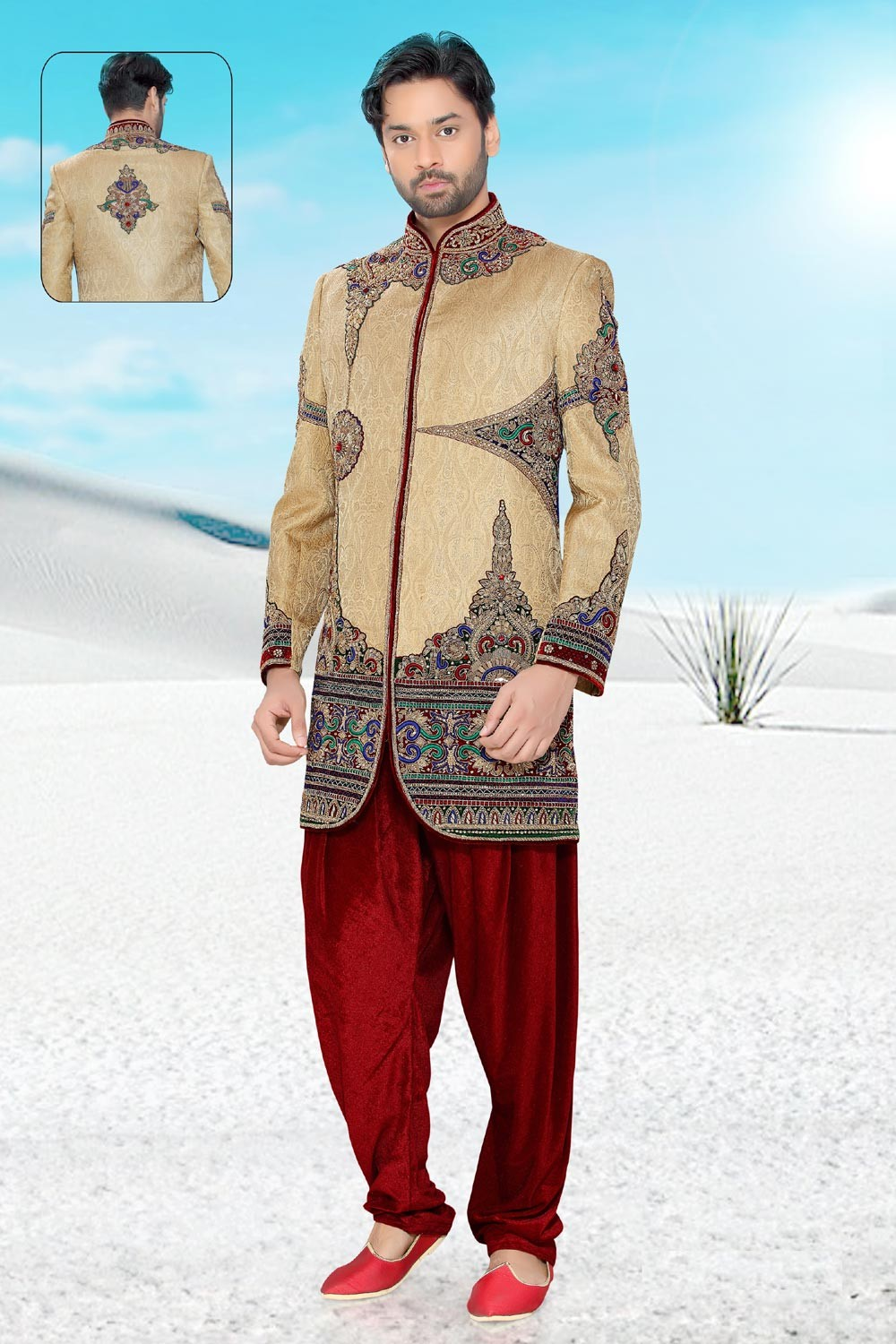 Men's Appealing Golden Brocade Men's Indo Western