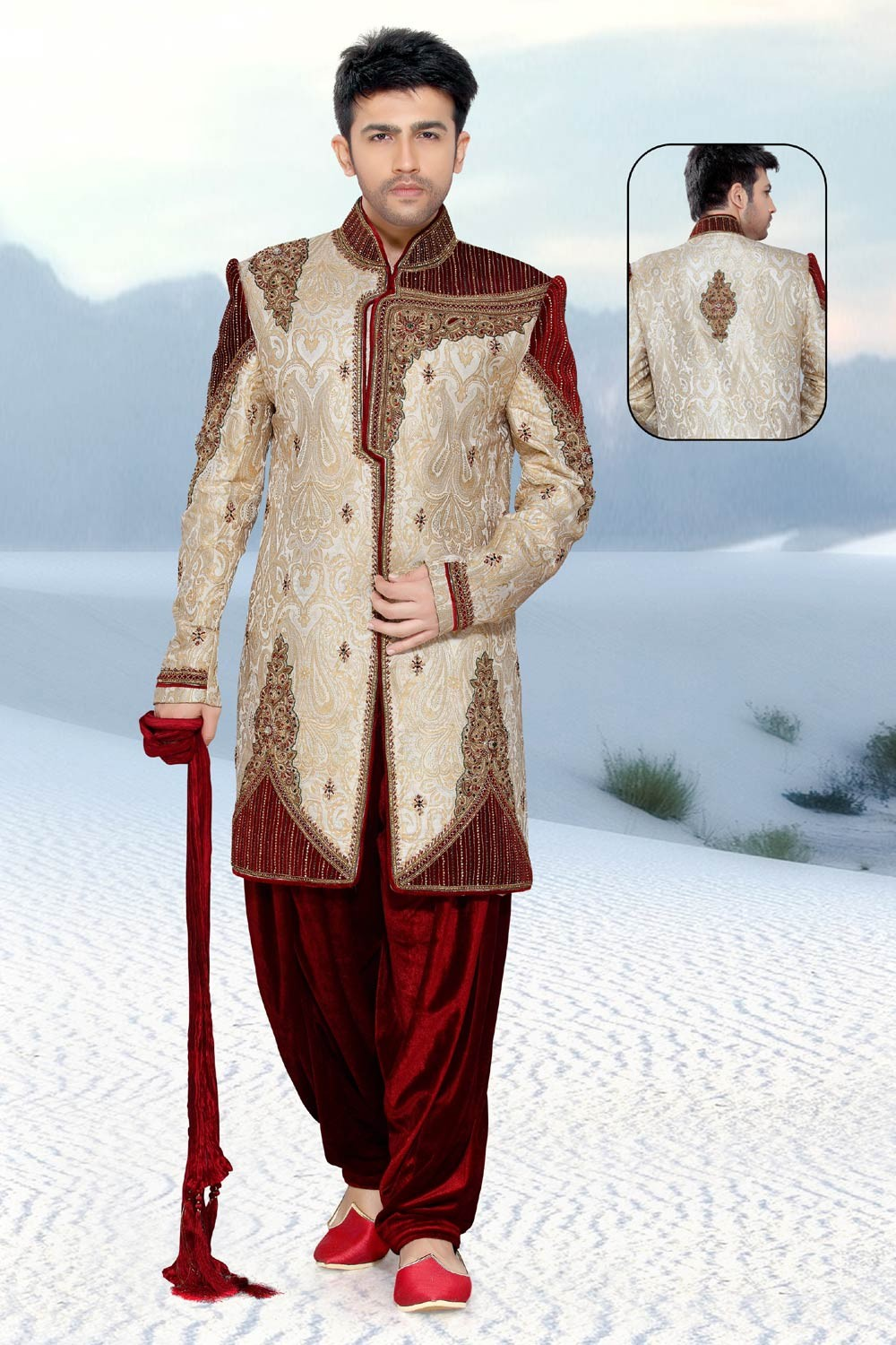 Men's Striking Cream & Maroon Brocade Men's Indo Western