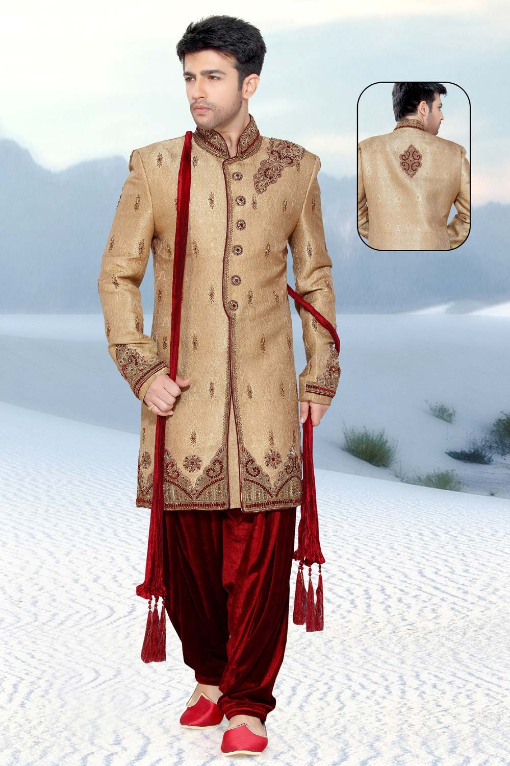 Golden & Beige Men's Indo Western