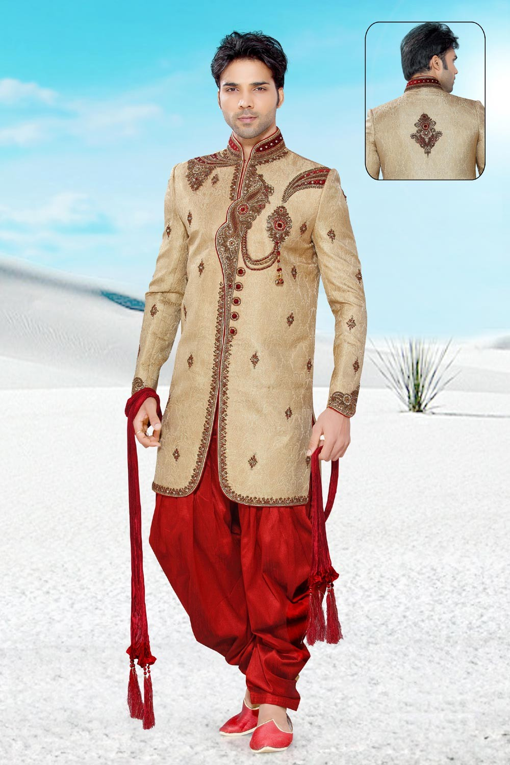 Men's Golden & Maroon Jamawar Men's Indo Western