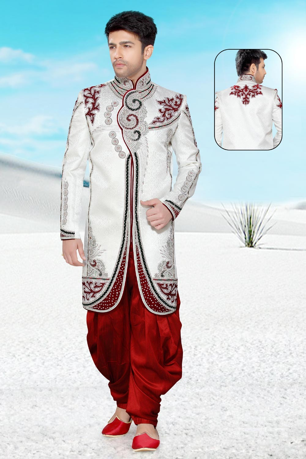 Men's Striking Off White Brocade Men's Indo Western