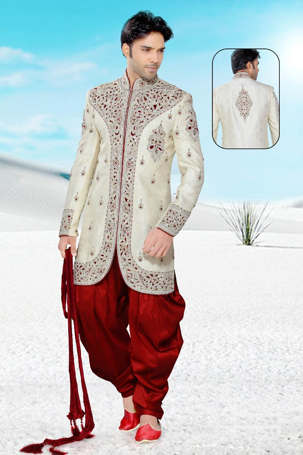 Men's Striking Cream & Maroon Men's Indo Western