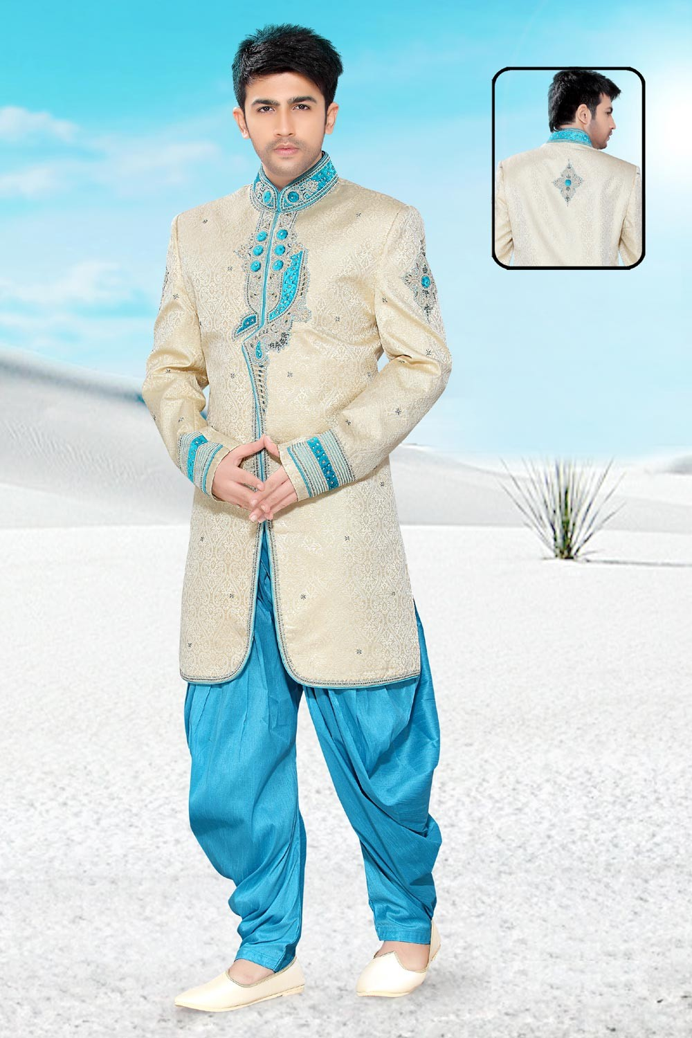 Cream Brocade Men's Indo Western