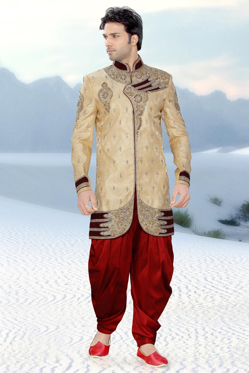 Men's Striking Golden & Maroon Jamawar Men's Indo Western