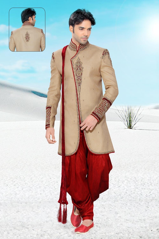 Men's Cream Jute Men's Indo Western