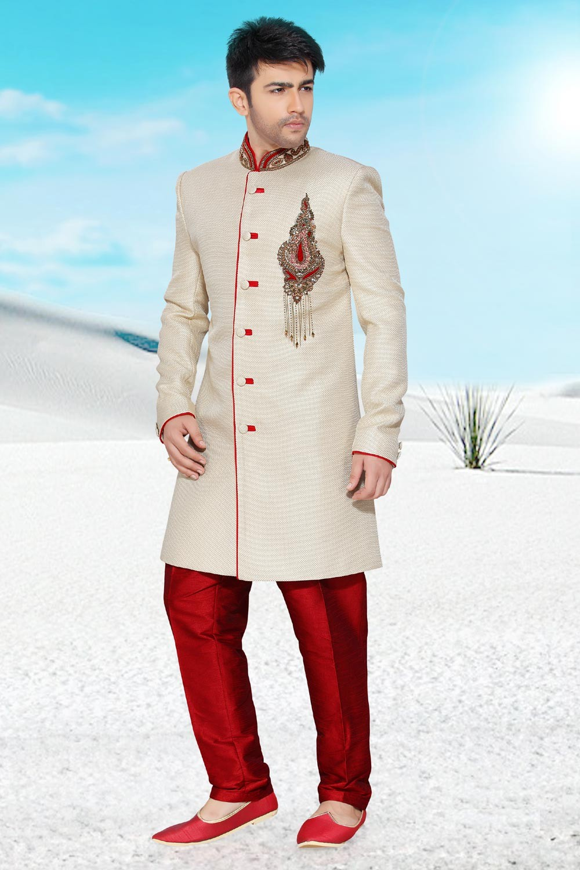 Cream Jute Men's Indo Western